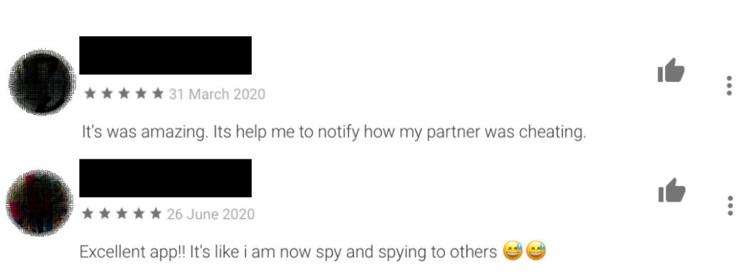 Reviews de usuários que utilizaram os apps de monitoramento para espionar e