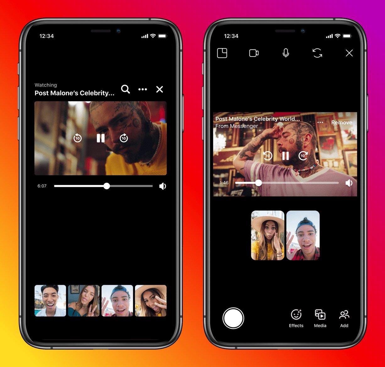 """Messenger e Instagram sincronizados no recurso """"Assistir Juntos"""" (Facebook/Reprodução)"""