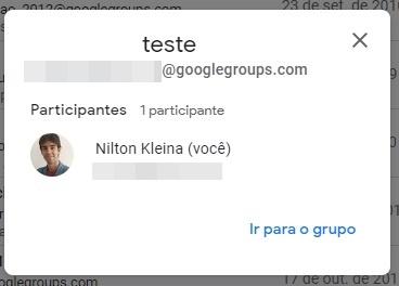 O grupo criado no Google Groups, mas ainda sem convidados.