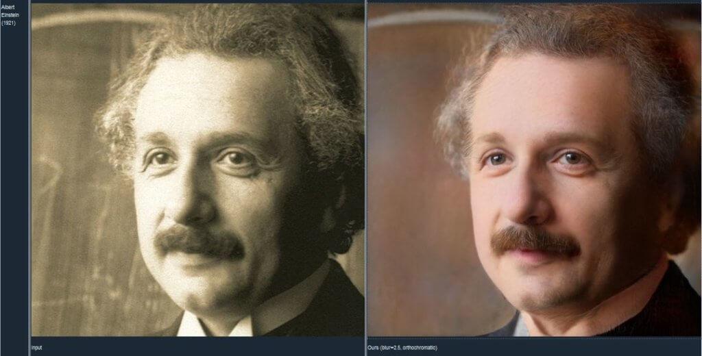 À esquerda, uma foto original de Albert Einstein; à direita, a imagem editada no Time-Travel Rephotography.