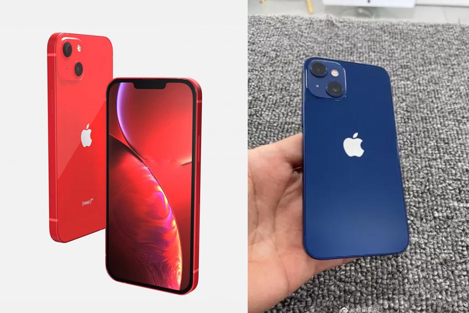 Na esquerda, um render do suposto iPhone 13 mini e, na direita, a nova imagem vazada do mesmo modelo. (Fonte: Weibo, Tech Radar / Reprodução)