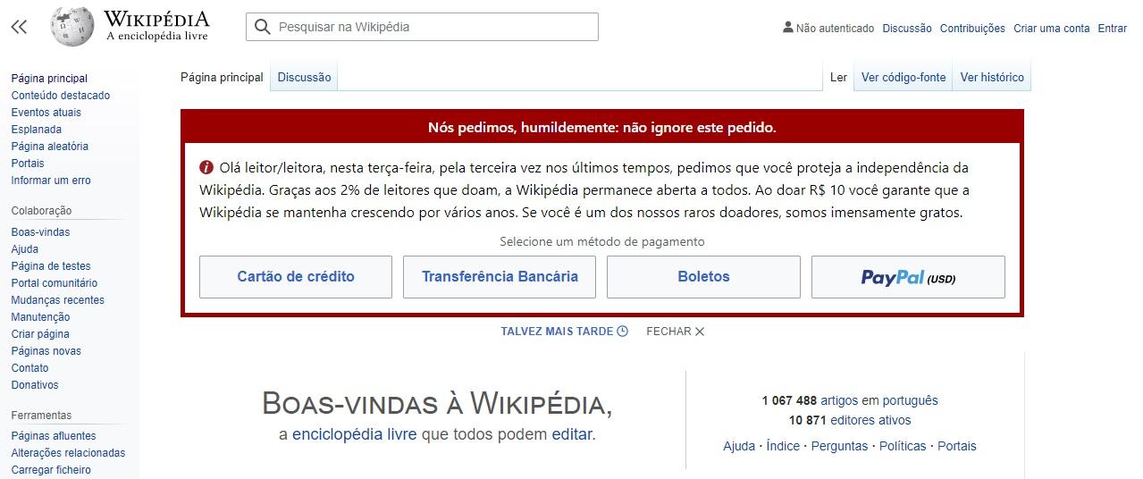 Um dos avisos da Wiki pedindo doações em 2021.
