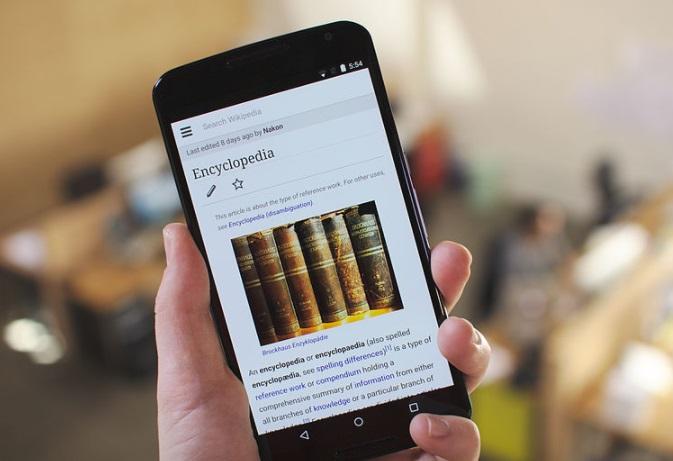 A wiki rodando em um smartphone.