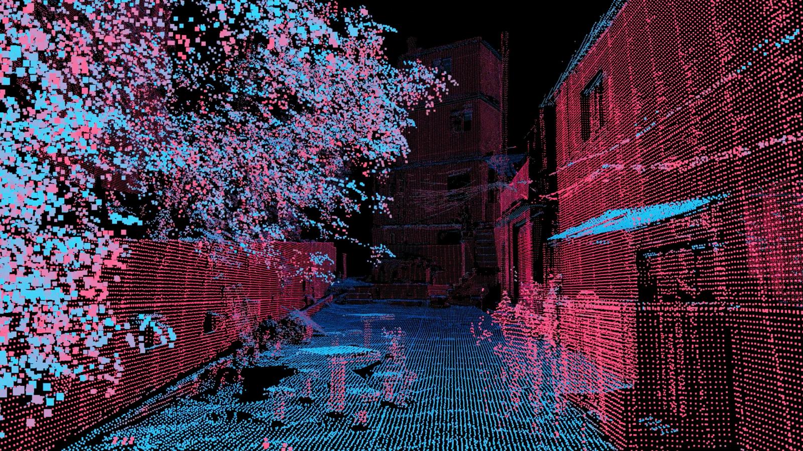 Imagem do escaneamento 3D da favela da Rocinha, no Rio de Janeiro.