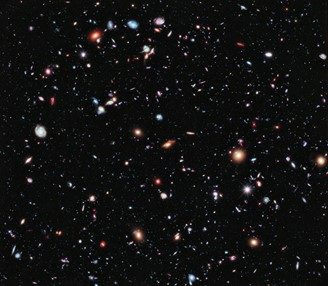 Image of galaxies in the universe made by the Hubble telescope.