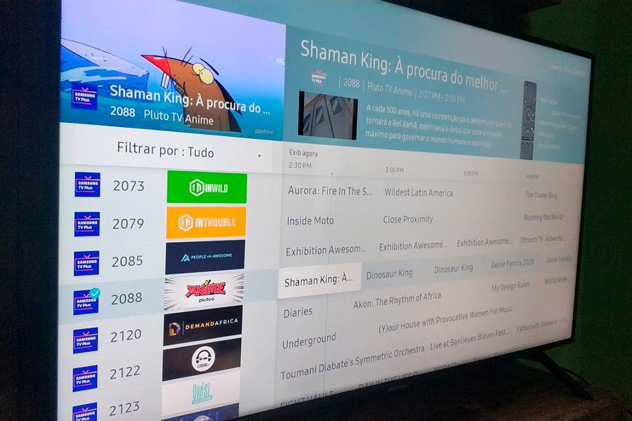 Samsung TV Plus channel guide.