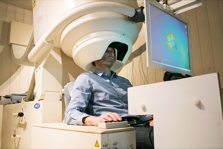 Magnetoencephalography machine in use.