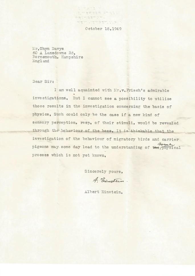 Letter written by Albert Einstein on October 18, 1949.