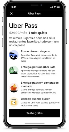 The Uber Pass subscription is carried out by the app itself.