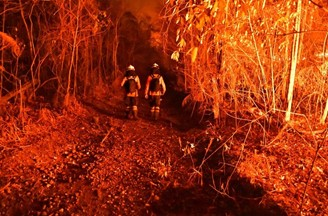 Fighting forest fire in Mato Grosso during drought.