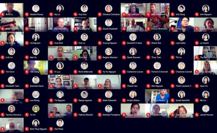 A visualização de todos os participantes na tela.