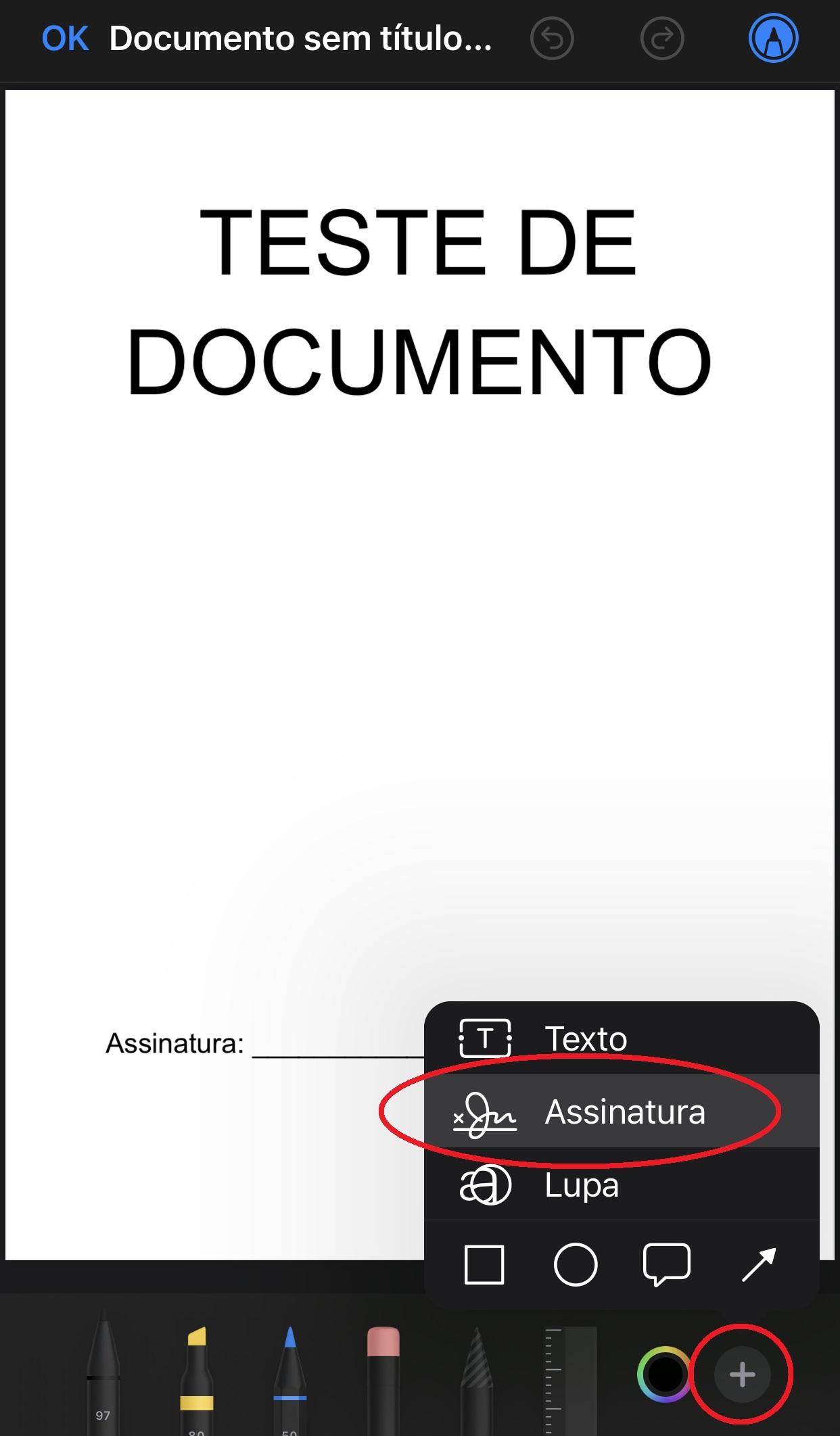 """Aperte na opção """"Assinatura"""" para criar a sua no documento"""