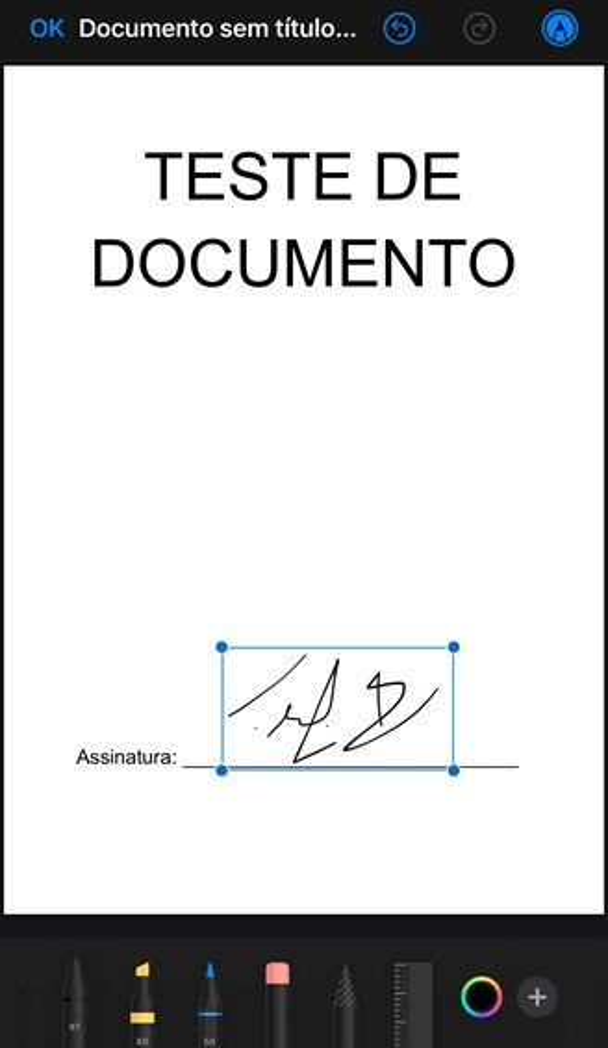 Ajuste a sua assinatura na tela para posiciona-la corretamente no documento