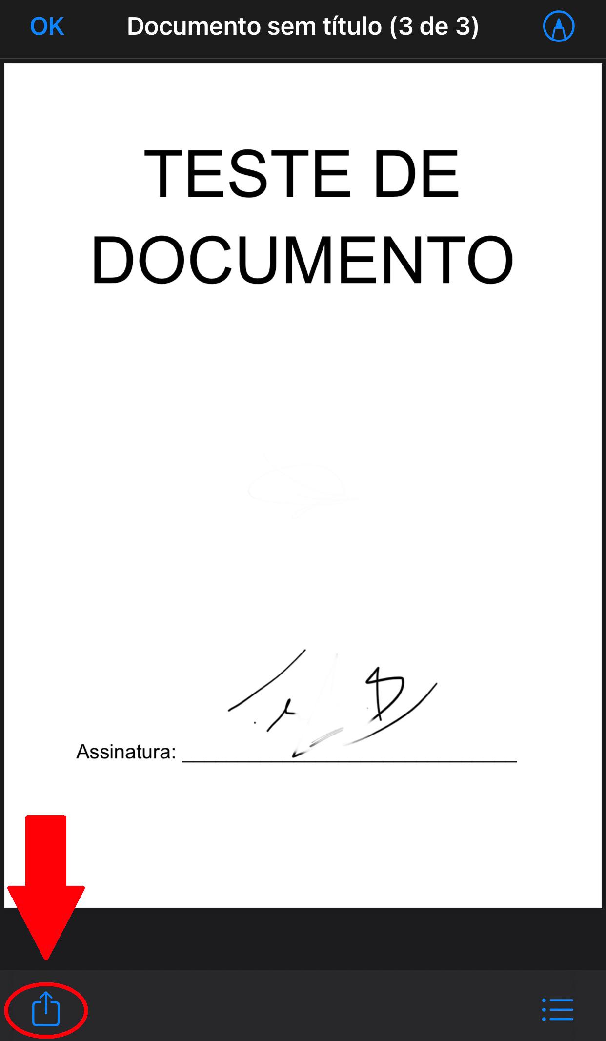 Aperte no botão para compartilhar seu documento assinado