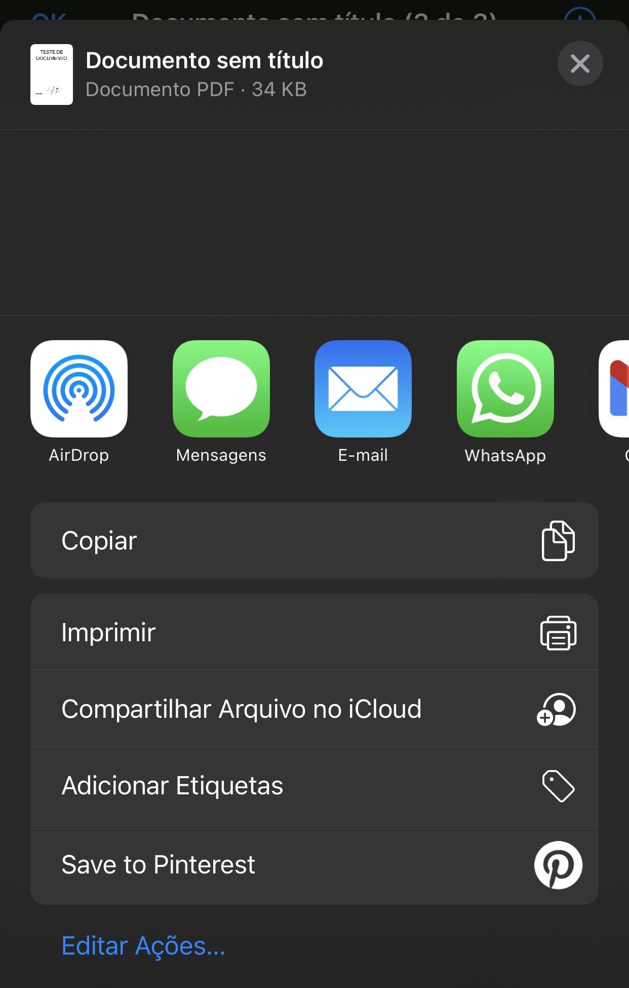 Você pode compartilhar o documento assinado por outros aplicativos do próprio iPhone