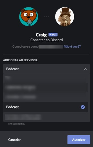 To be able to add Craig to conversations and make recordings, just select the desired option and authorize him to access your server.