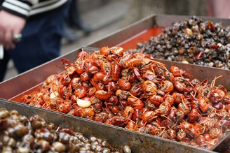 Crayfish at wet market in Wuhan. Huanan market was the first place to record a covid-19 outbreak in 2019.