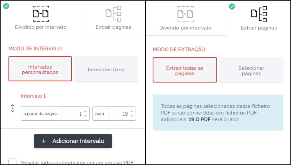 O site também conta com um recurso para dividir um PDF em vários ou juntos vários em um arquivo só.