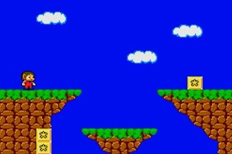 The same screen seen in the original game. Note the low resolution, lack of NPC and lack of visual cues about Alex Kidd's items and lives