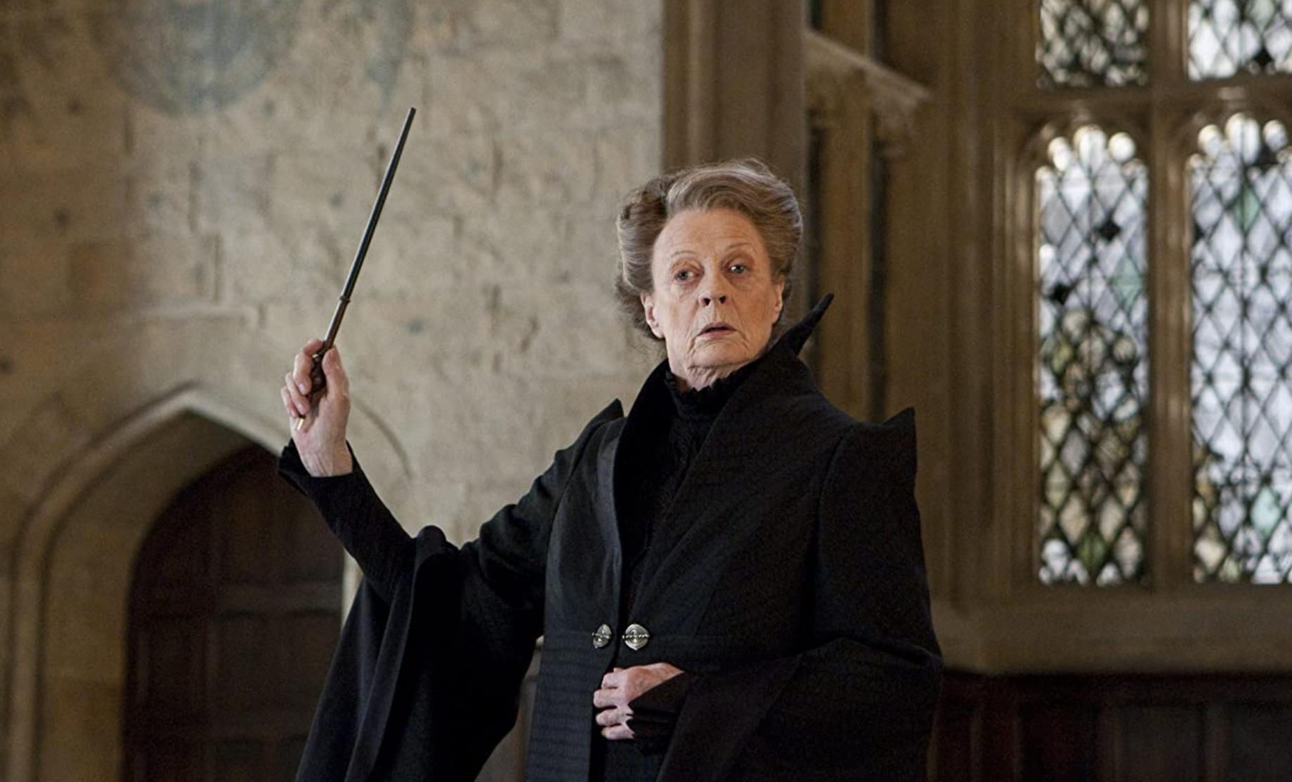 Maggie Smith as Minerva McGonagall.