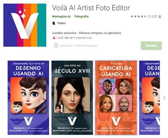 Voilà AI Artist app for Android.