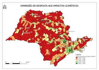 Map shows dimension of response to climate impacts of each municipality in São Paulo. The closer to 1 (dark green), the better the city index for this aspect.