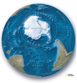National Geographic artwork illustrates the fifth ocean on the terrestrial globe.