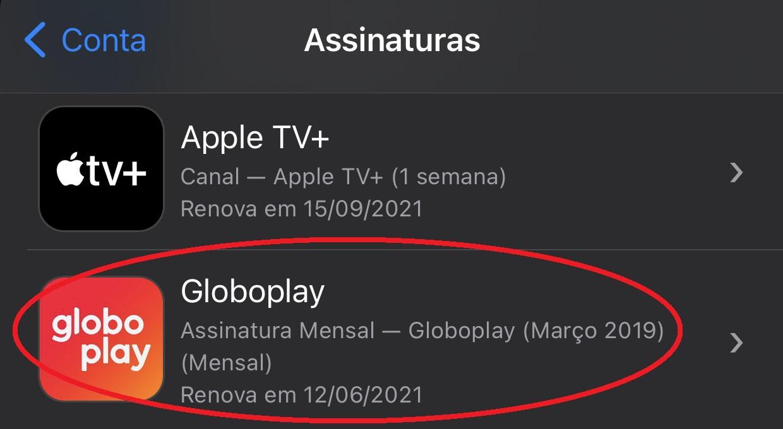 Seleciona a Globoplay entre seus serviços de assinatura
