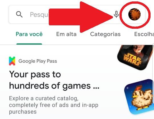 Clique na sua foto de perfil no alto da tela da Play Store