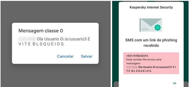 O formato de SMS fraudulento identificado pelos especialistas.