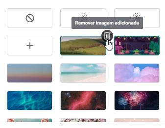 A opção para remover uma imagem de fundo adicionada pelo usuário.
