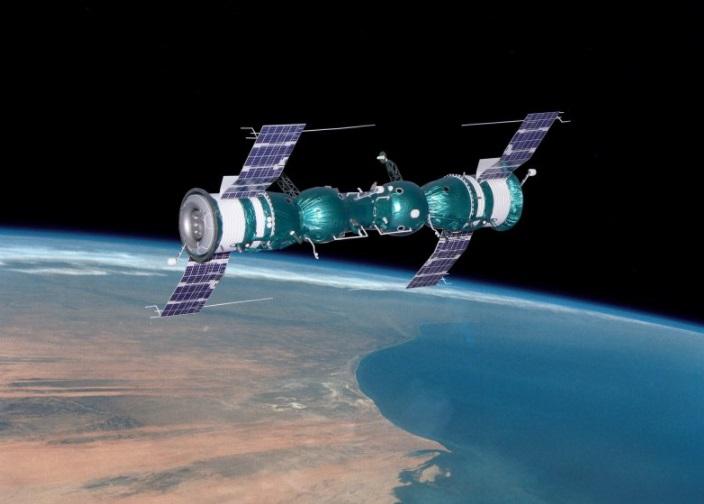 Uma ilustração da acoplagem entre as Soyuz.