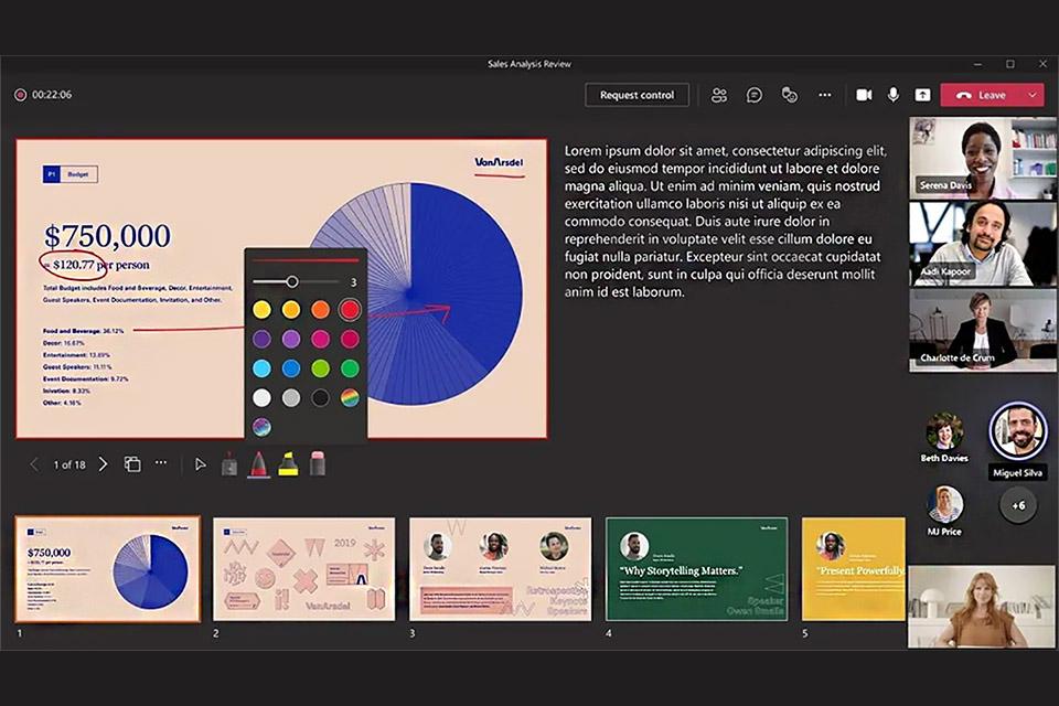 PowerPoint no Microsoft Teams recebe apontador laser e caneta