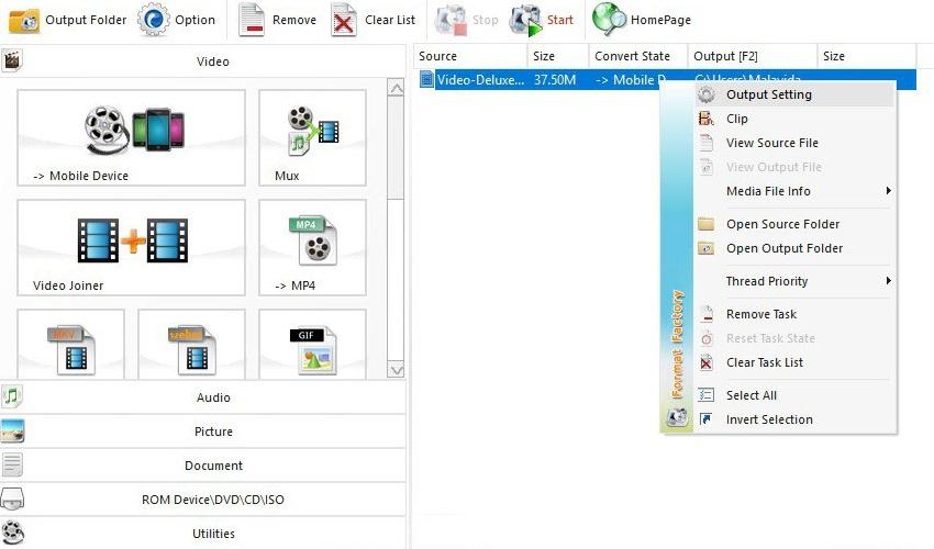 Interface do Format Factory apresenta diversas possibilidades para os usuários. (PC Free Time/Reprodução)