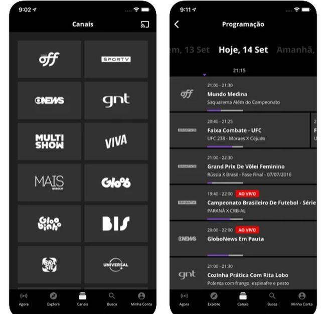 Globosat Play app.