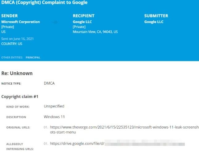 Um dos avisos de link derrubado a mando da Microsoft.