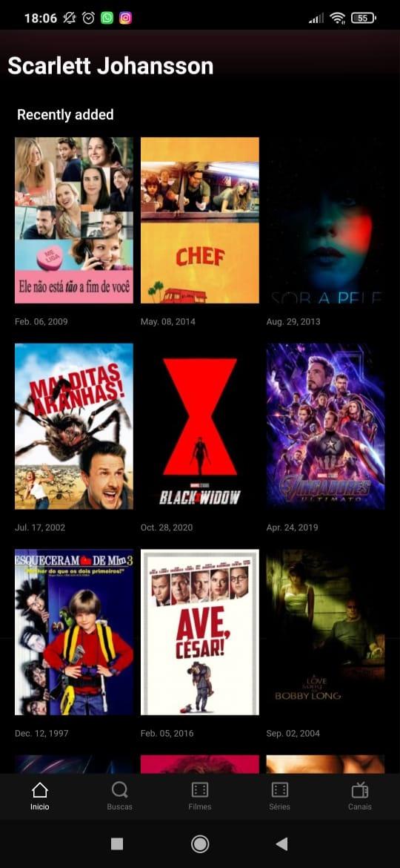 Printscreen da tela de conteúdos com a atriz Scarlett Johansson do 9UHD