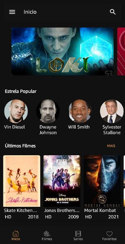 Imagem da tela inicial do Aplicativo MediaFlix