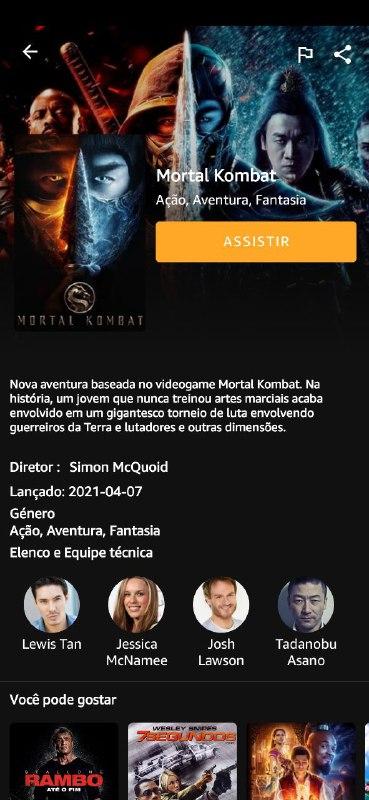 Imagem da tela do filme Mortal Kombat no aplicativo MediaFlix