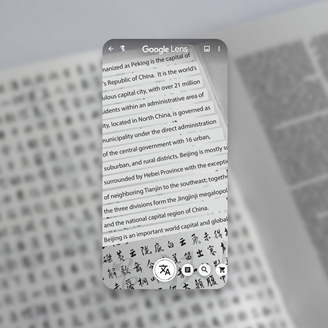 Google Lens performs automatic translation in multiple languages.