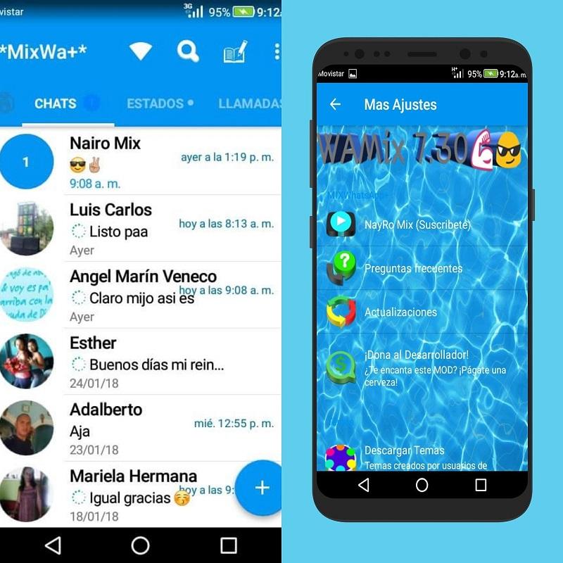 Imagem de telas do aplicativo Whatsapp Mix