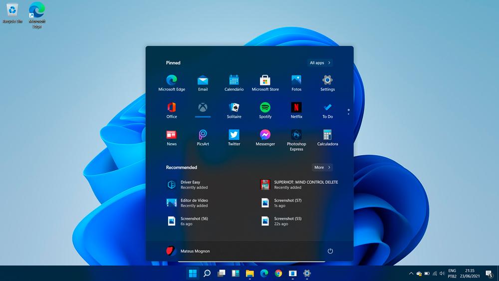 Windows 11 tela inicial