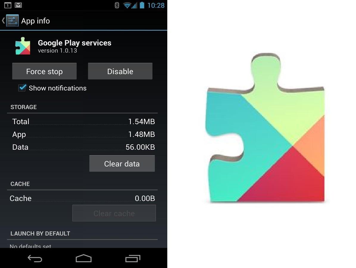 Tela de informação do aplicativo Google Play Services