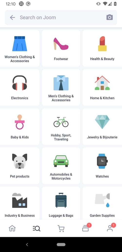 Imagem da tela de busca do aplicativo JOOM