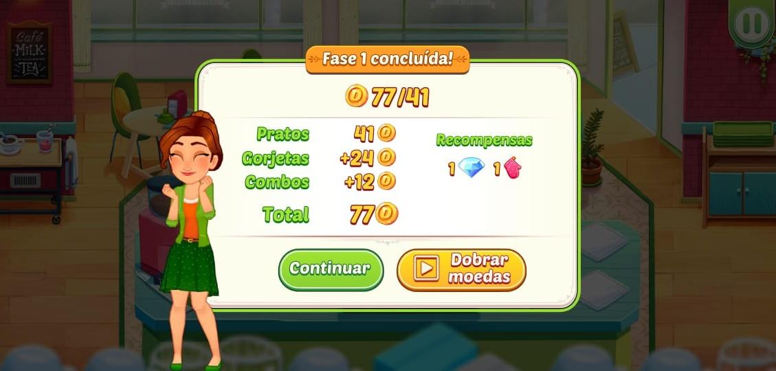Imagem da tela de pontuação do jogo Delicious World