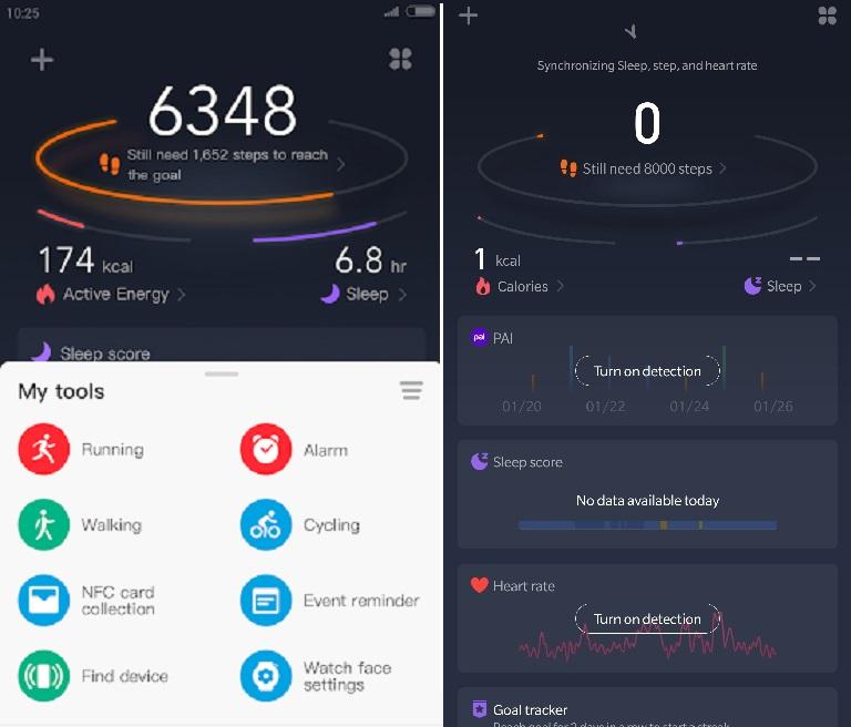 Interface do Zepp mostra a quantidade de passos que os usuários deram ao longo do dia, além de mostrar frequência cardíaca e horas dormidas na noite anterior. (Huami/Reprodução)