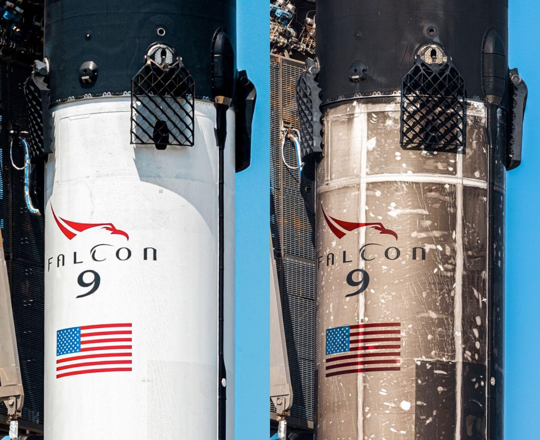 B1060 antes de su primer lanzamiento en 2020 en comparación con el estado actual del cohete