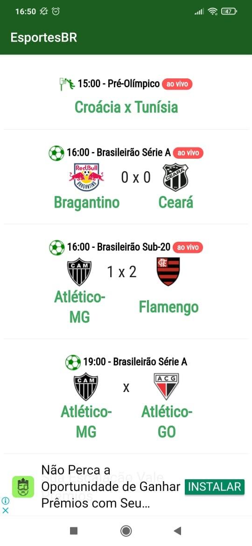 Imagem da tela de jogos do aplicativo EsportesBR