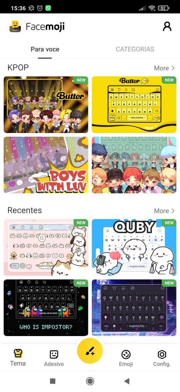 Tela de categorias do aplicativo Facemoji