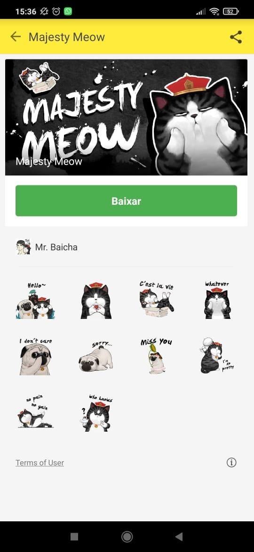 Tela de emojis de gatos do aplicativos Facemoji Keyboard